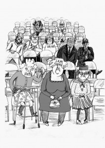 Demolition Dad Illustration of an audience watching the wrestling